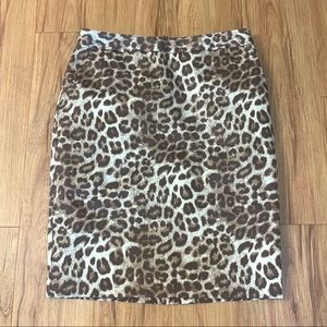 Charter One Leopard Print Career Fitted Midi Skirt